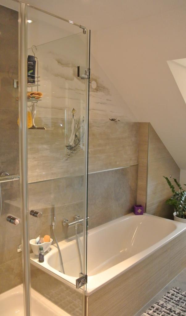 90° Glas Glas Badewannenanschluss mit zwei Pendeltüren